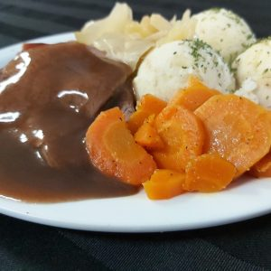 Roast Beef, Gravy, Mashed Potatoes and Vegetables