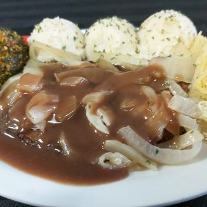Beef Liver, Onions, Gravy, Mashed Potatoes, Vegetables