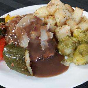 Salisbury Steak with Onions, Gravy, Roast Potatoes and Vegetables