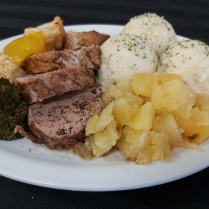 Balsamic Roast Pork Tenderloin with Mashed Potatoes and Vegetables