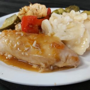 Tropical Apricot Chicken with Scalloped Potatoes