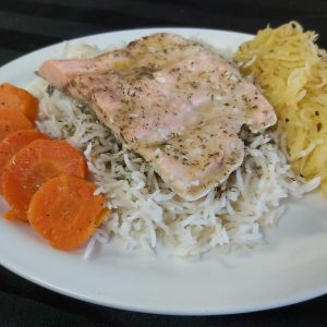 Lemon Dill Salmon with Rice Pilaf and Vegetables