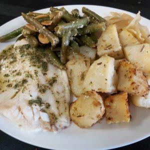 Lemon Garlic Tilapia with Roast Potatoes