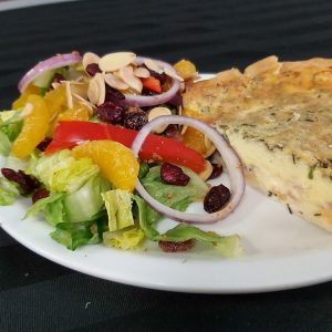 Quiche of the Day with Fresh Orange Almond Salad