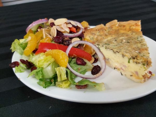 Quiche of the Day with Orange Almond Salad