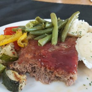 Glazed Meatloaf with Mashed Potatoes and Vegetables