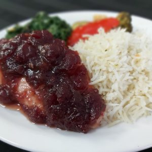 Cranberry Glazed Chicken with Rice Pilaf and Vegetables
