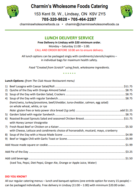 Charmin's Lunch Delivery Menu